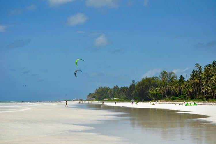 Galu Beach kite surfing