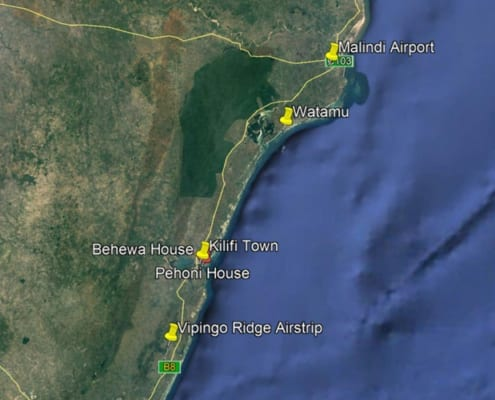 Map showing the location of Pehoni House Kilifi