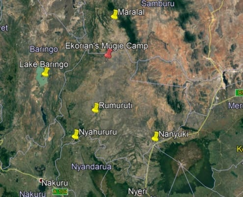Map of Ekorian's Mugie Camp, Mugie Conservancy in Laikipia