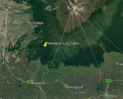 Map of Ndongoro Cabin, Ragati Conservancy in Mount Kenya